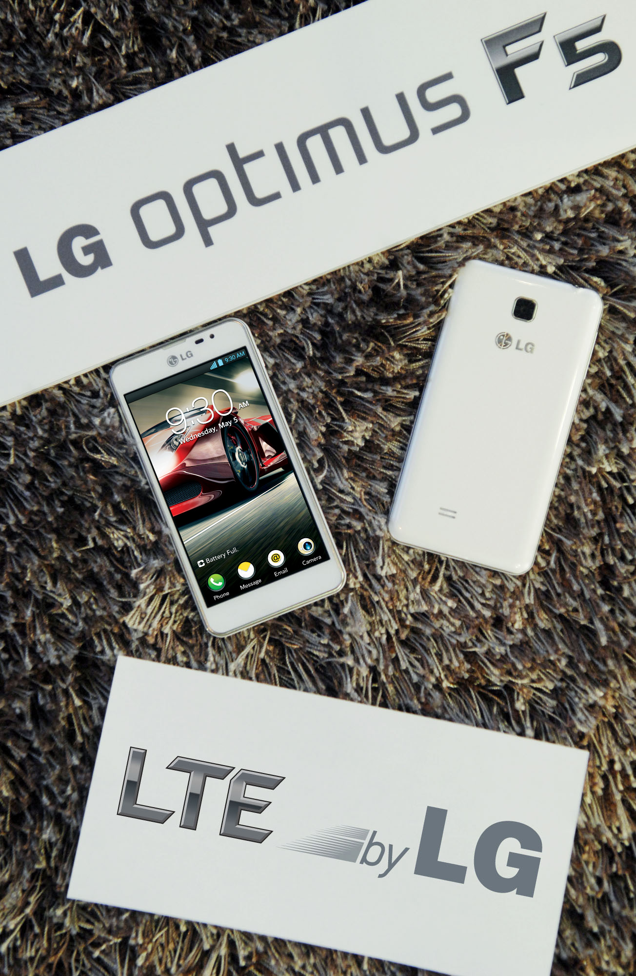 Two LG Optimus F5s on a carpet with panels saying 'LG Optimus F5' and 'LTE by LG' – one showing its front and the other one showing its back.