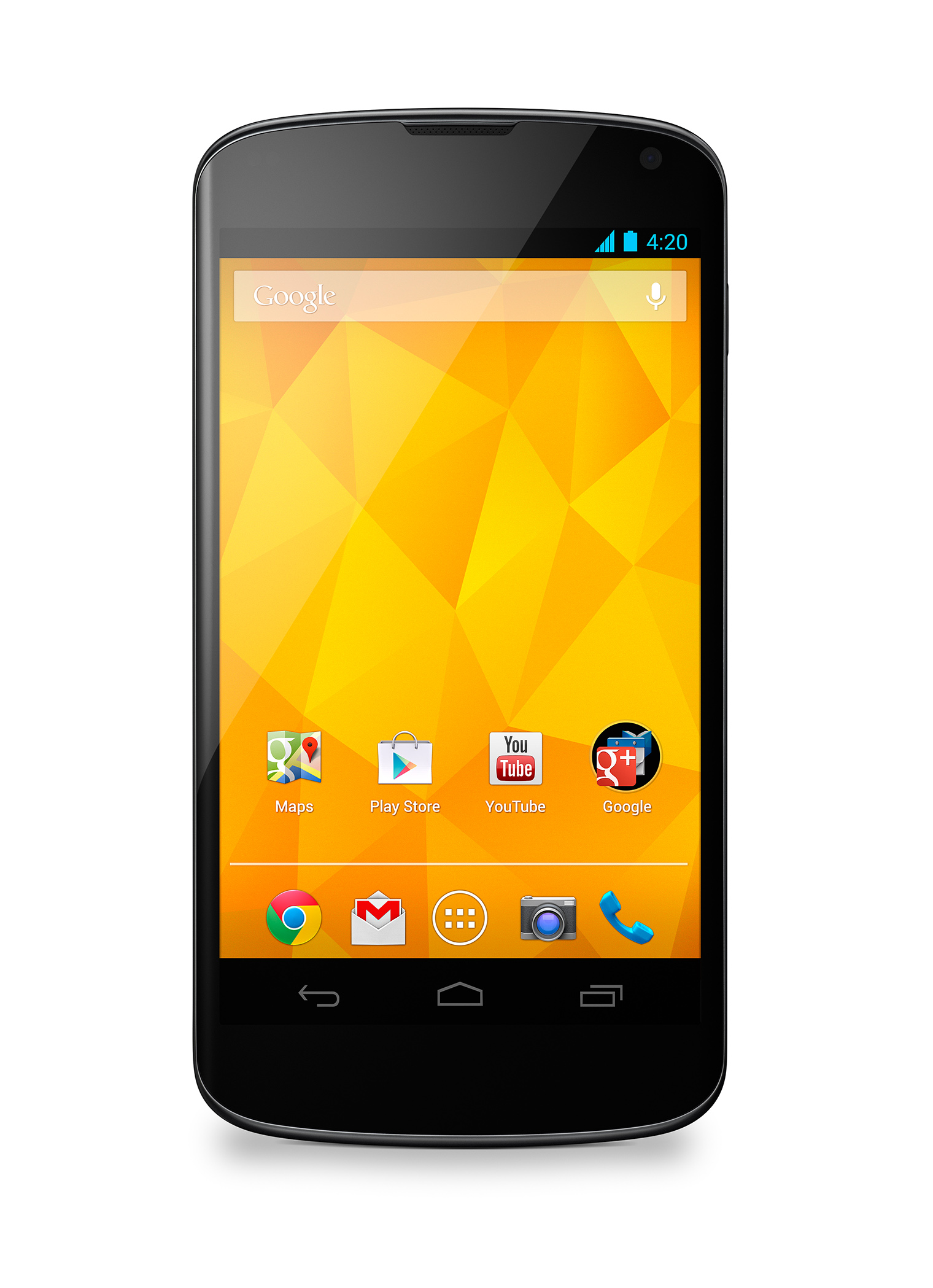 A front view of the Nexus 4 White