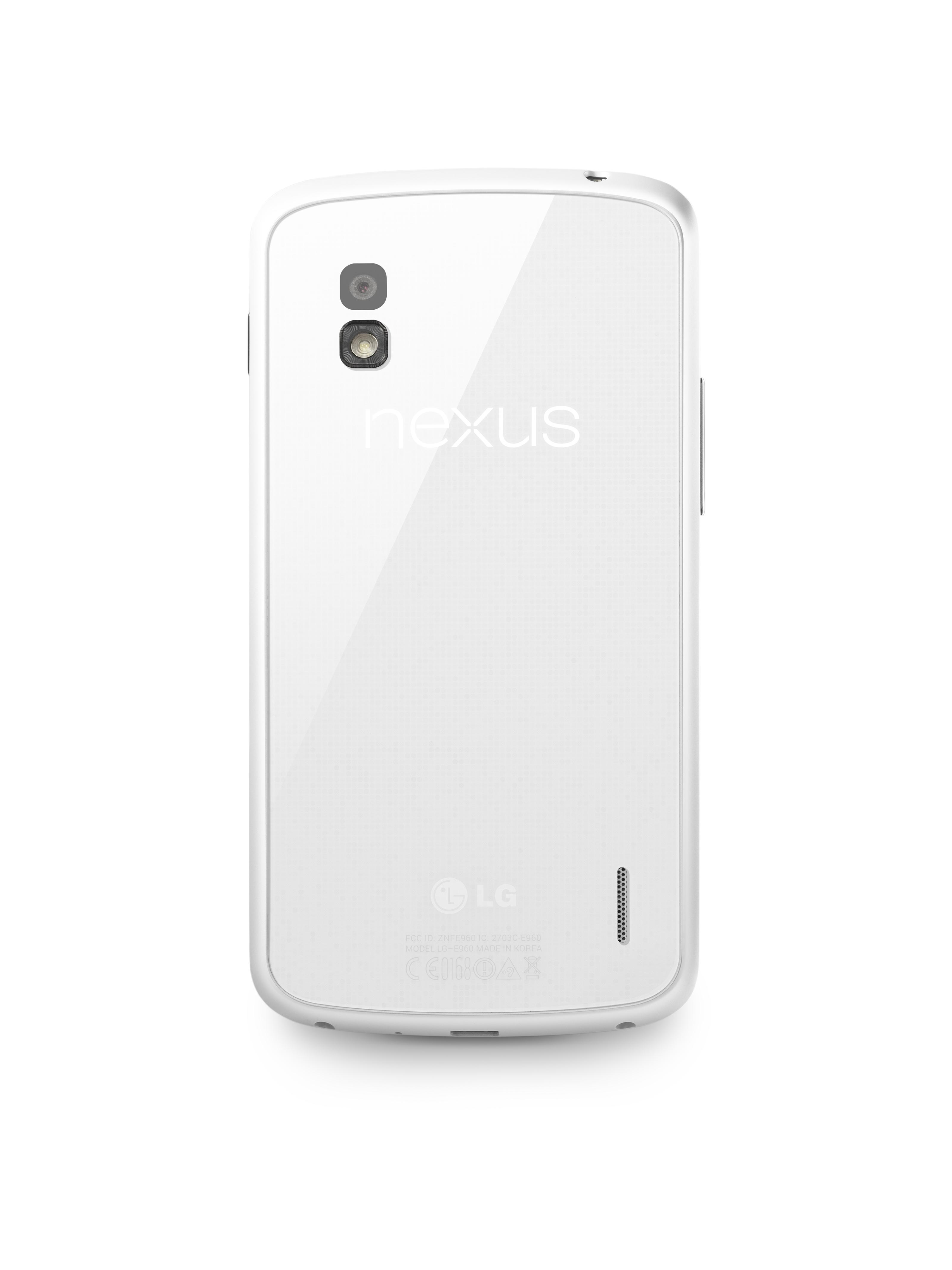 A rear view of the Nexus 4 White