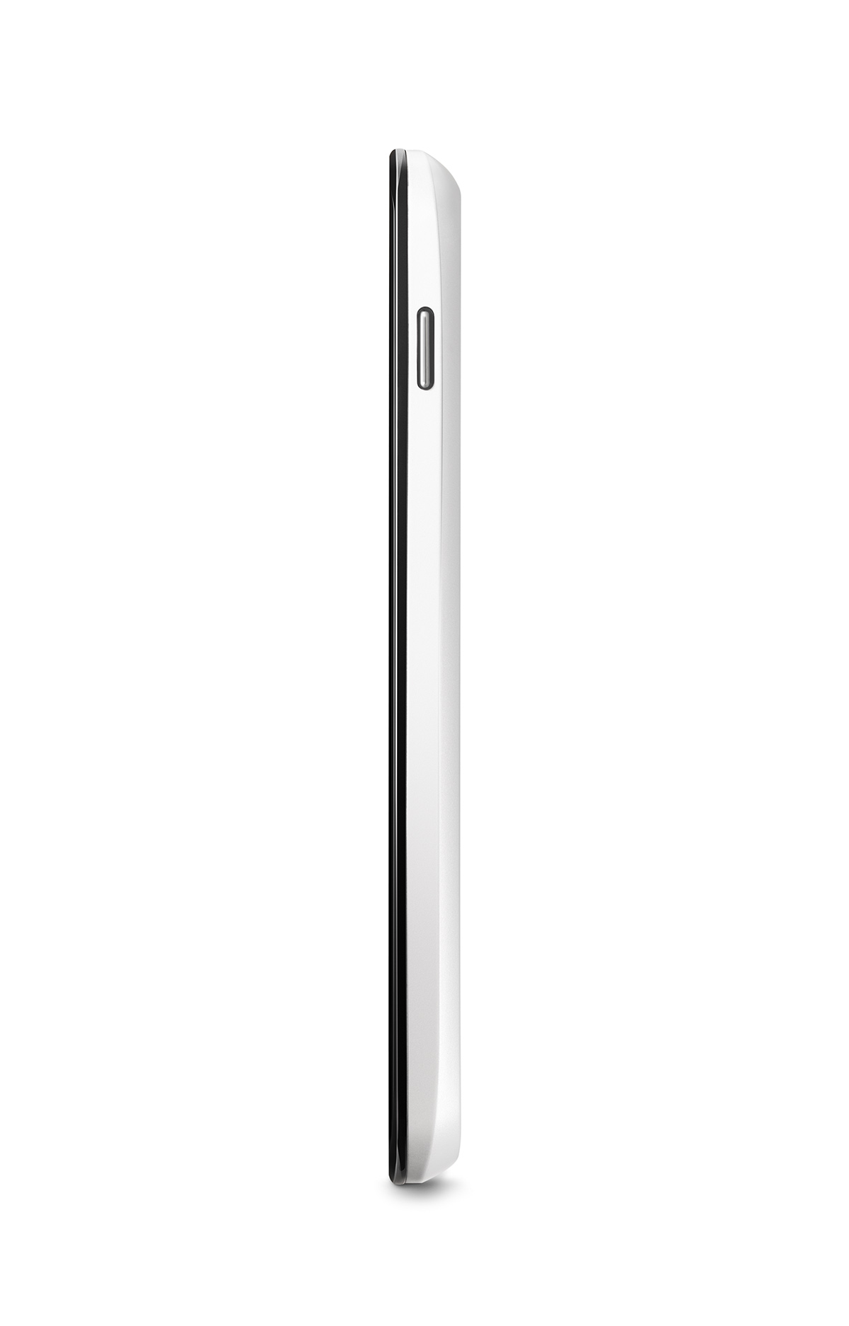 A vertical-side view of the Nexus 4 White