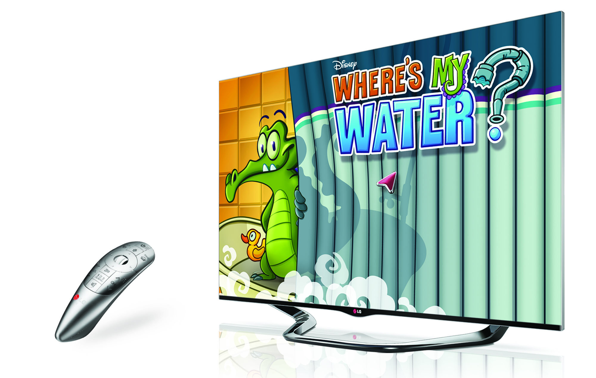 LG Magic Remote and the right-side view of an LG CINEMA 3D SMART TV displaying 'Where's My Water', a game that can be found on the Smart TV's game store
