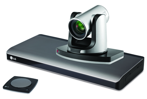 A right-side view of LG video conference system model VR5010H's camera with its speaker in front