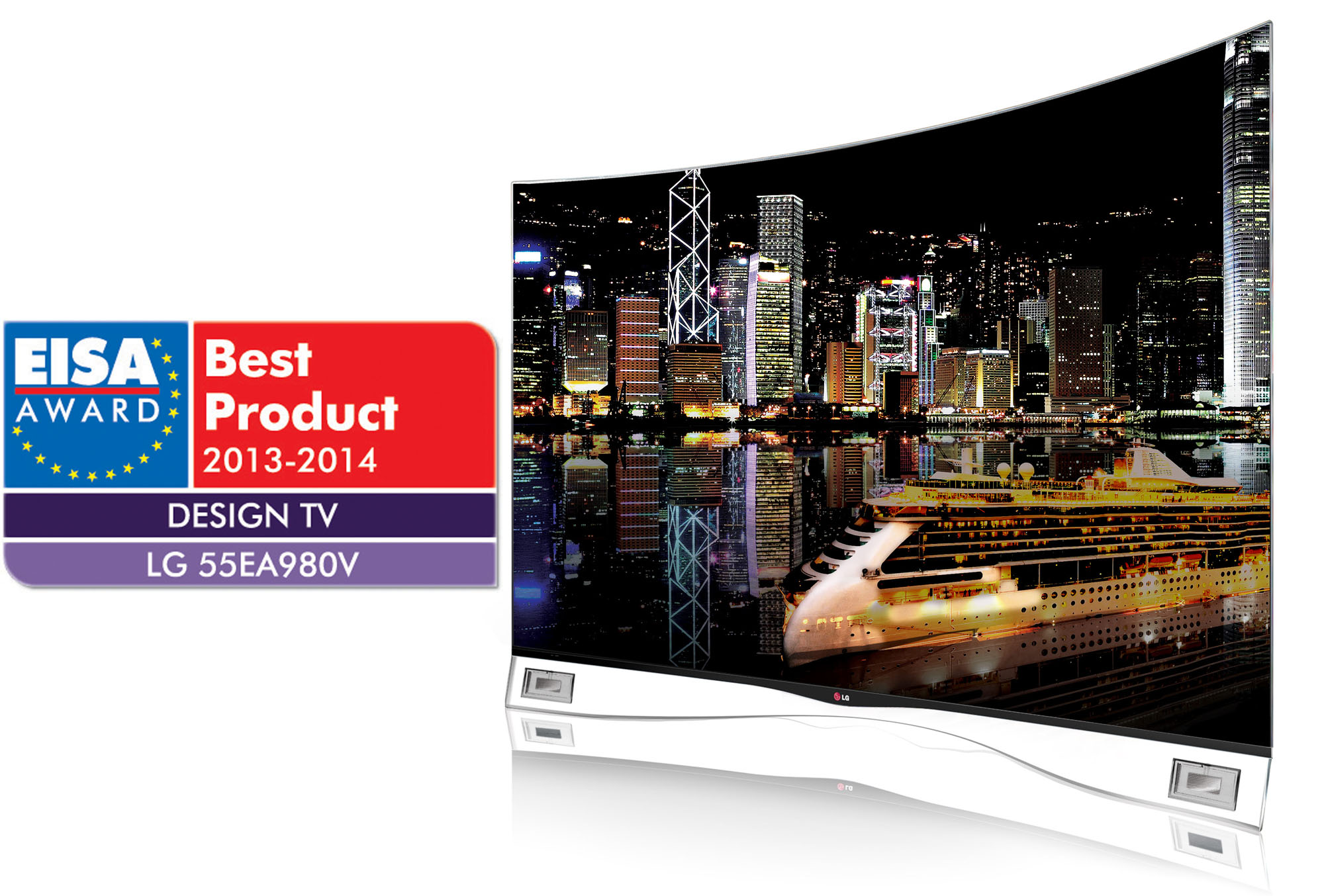 The European Imaging and Sound Association (EISA) Awards logo next to a right-side view of the LG CURVED OLED TV model 55EA9800