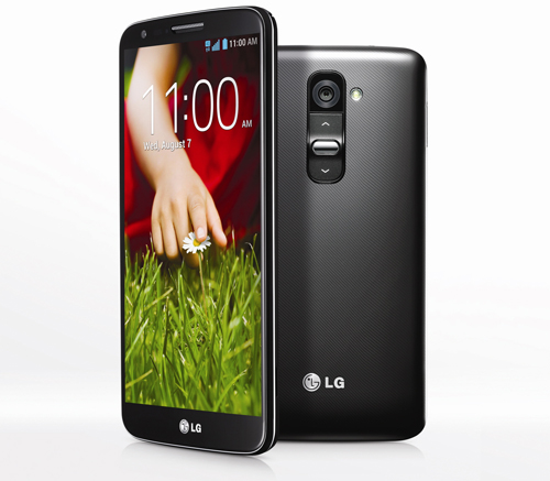A half-side view of the front of LG G2 and the back of LG G2.