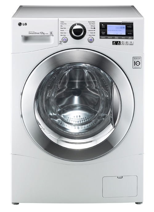 Front view of the LG 12kg front-load washing machine