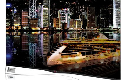 The LG CURVED OLED TV model 55EA9800 displaying Hong Kong's impressive night skyline