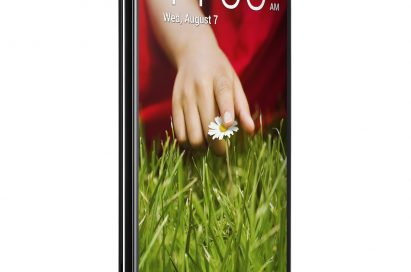 A half-side view of the front of LG G2.