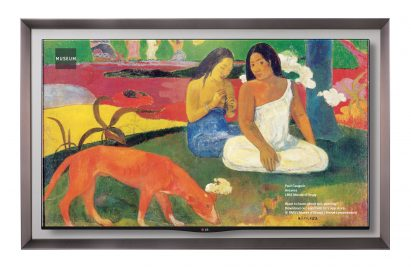 LG GALLERY OLED TV model 55EA8800 displaying one of Paul Gauguin's artwork