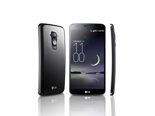 The LG G Flex's front, side and rear view.
