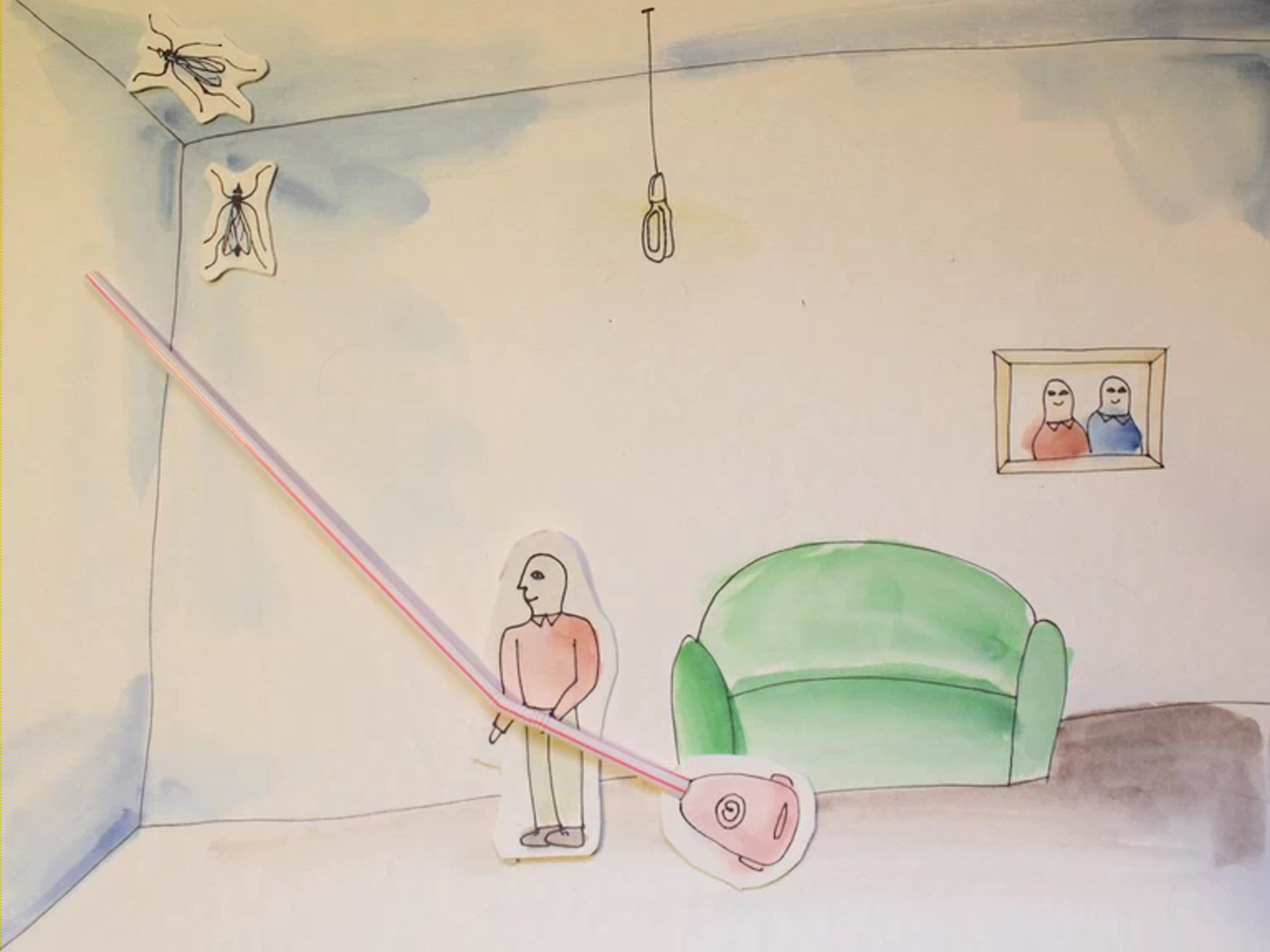 A drawing of a man using his LG KOMPRESSOR™ vacuum cleaner to remove mosquitos from the corner of the ceiling