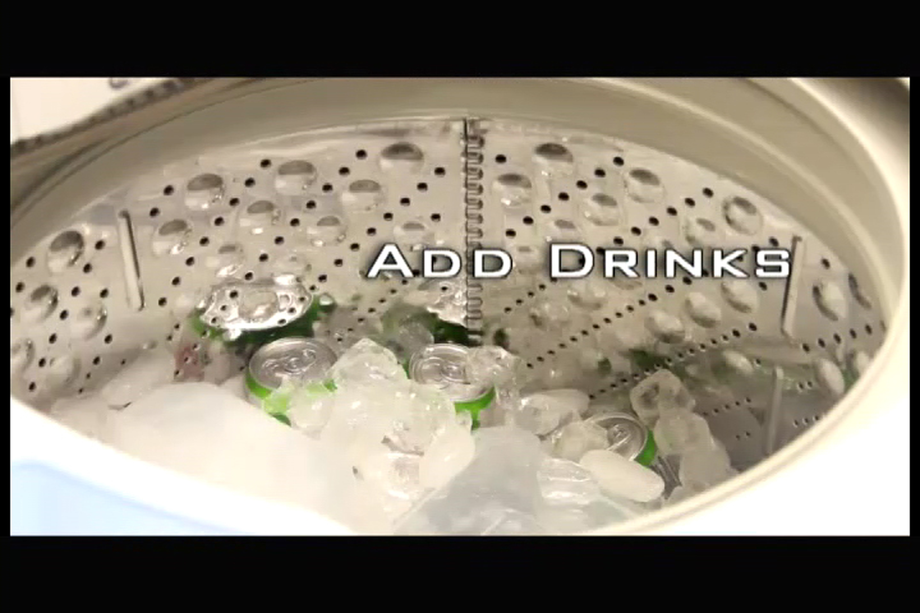 A photo of drinks placed inside the ice-filled washing machine with the text, 'add drinks'