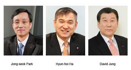 Three headshots of Jong-seok Park, hyun-hoi Ha and David Jung, executives in charge of key positions at LG in 2014