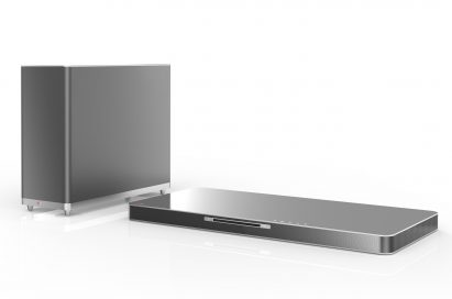LG SoundPlate model LAB540W with an external wireless subwoofer on the left