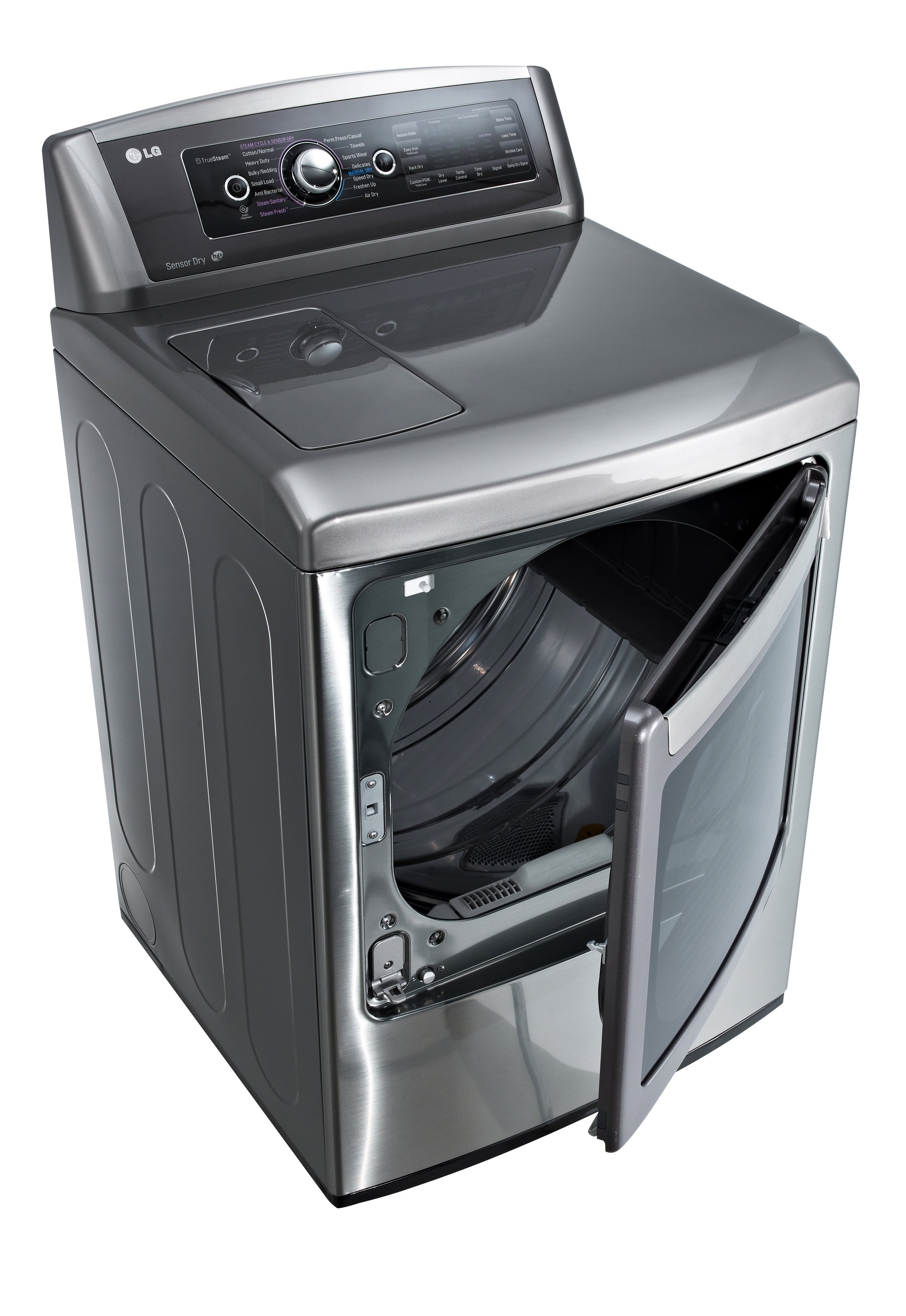 LG front-load washing machine with door opened from the side