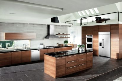 A kitchen featuring LG Studio line-ups including refrigerator, dishwasher, cooktop, wall oven, ranges and microwave oven