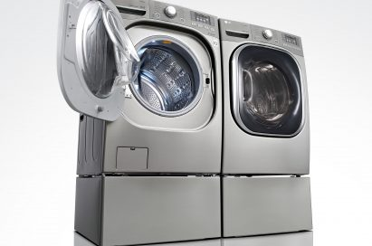 Set of LG front-load washing machine and dryer with drawer at the bottom