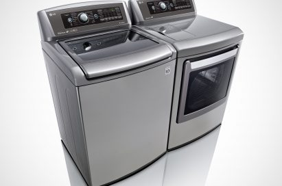 Side view of LG top-load washing machine and front-load dryer with projected control panel
