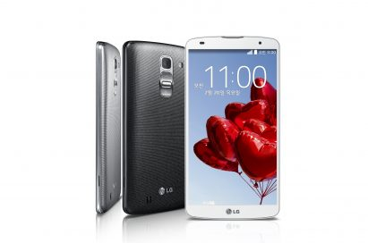 A side, rear and front view of the LG G Pro 2 in Silver, Titan Black and White.
