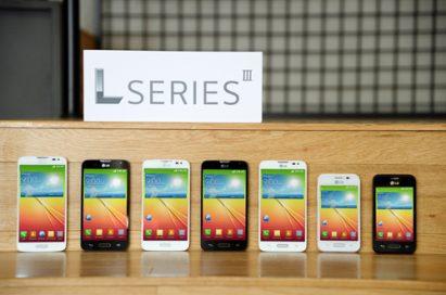 A front view of L Series III smartphones — L40, L70, L90