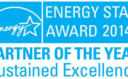 Logo of the U.S. Environmental Protection Agency's (EPA) 2014 ENERGY STAR Partner of the Year–Sustained Excellence Award, which was awarded to LG.