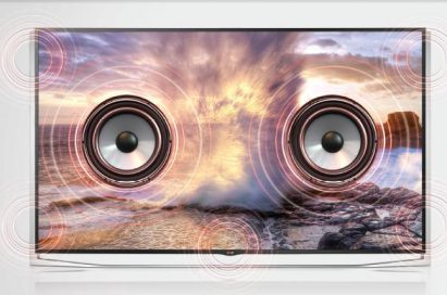 A front view of LG ULTRA HD TV model UB9800 distributing booming sound