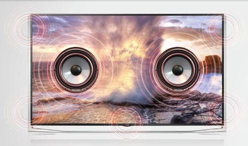 A front view of LG ULTRA HD TV model UB9800 distributing booming sound.