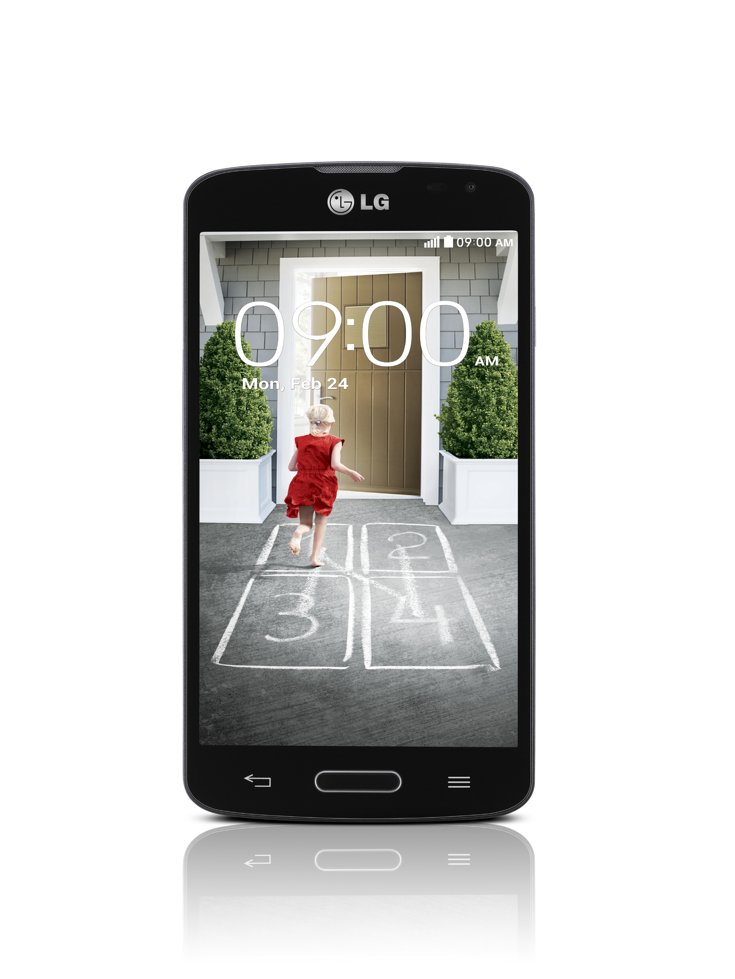 A front view of LG F70 in black color.