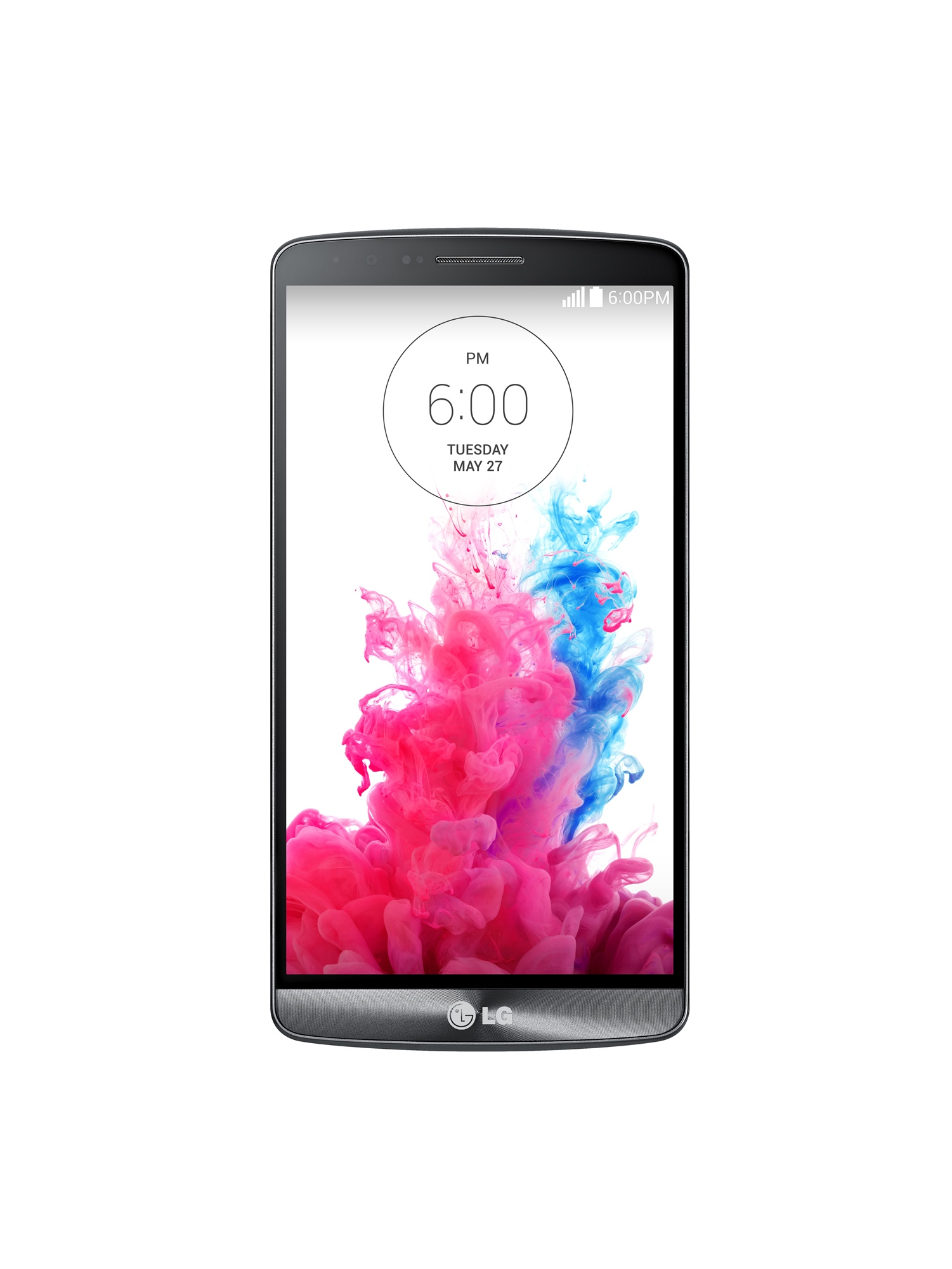 A front view of LG G3 showing its screen when locked.