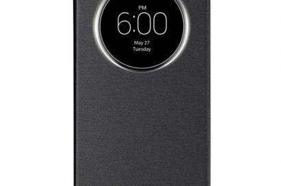A front view of LG G3 wearing QuickCircleTM case in Metallic Black color.