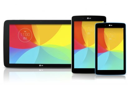 Fronts of LG G Pad 10.1, G Pad 8.0 and G pad 7.0.