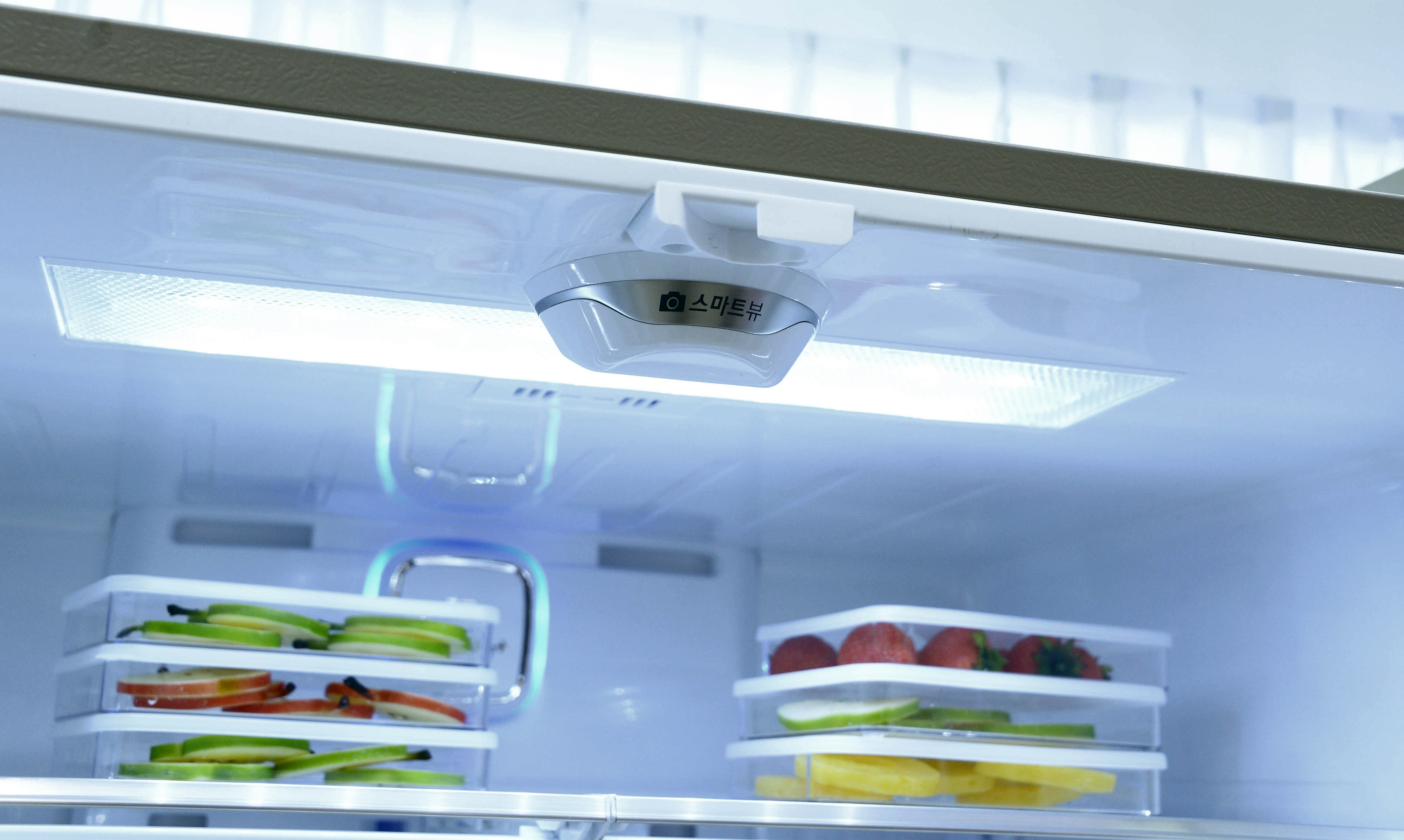 Close-up view of the Smart View camera located on the ceiling of the refrigerator's interior