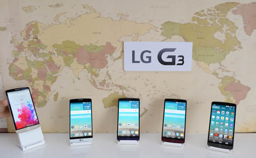 A front view of the LG G3 display.