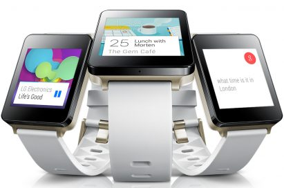 Three LG G Watches in White Gold color – each shows the music being played, user's lunch schedule and the time in London.