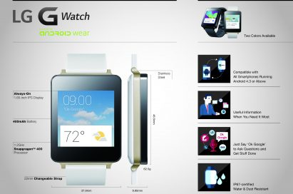 An infographic about LG G Watch dealing with its main features.