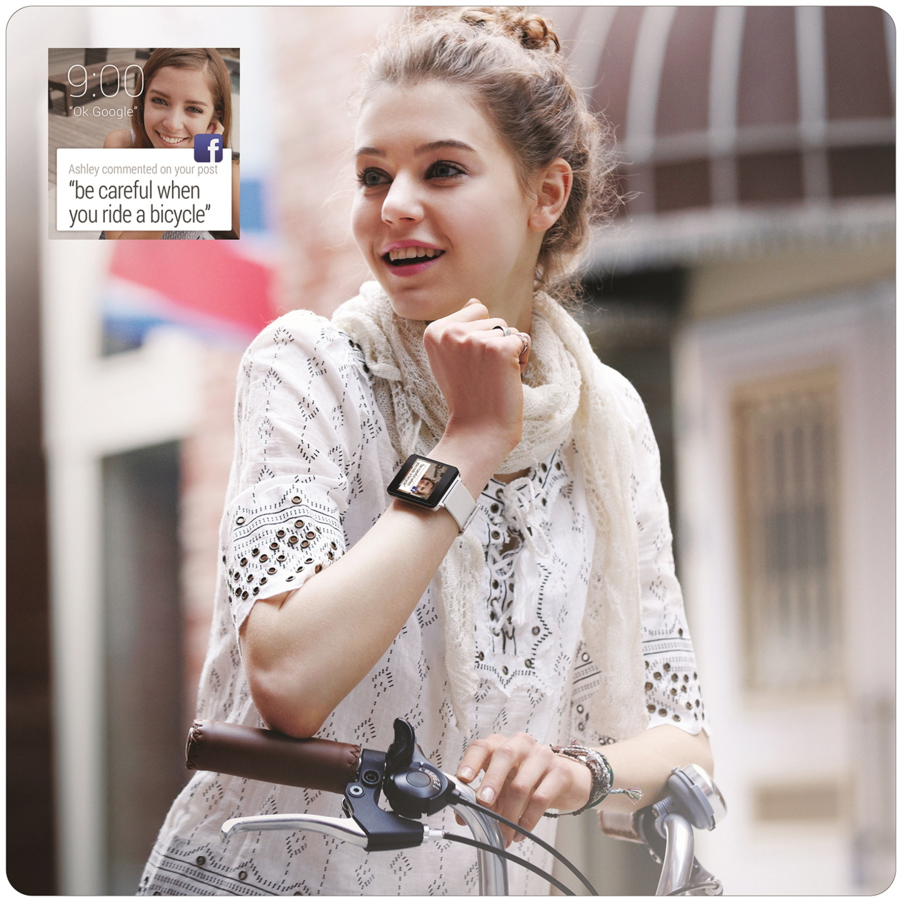 "A woman wearing the LG G Watch in White Gold rides her bicycle, with a screenshot of the watch's displaying Facebook comments such as, ""be careful when you ride a bicycle."""