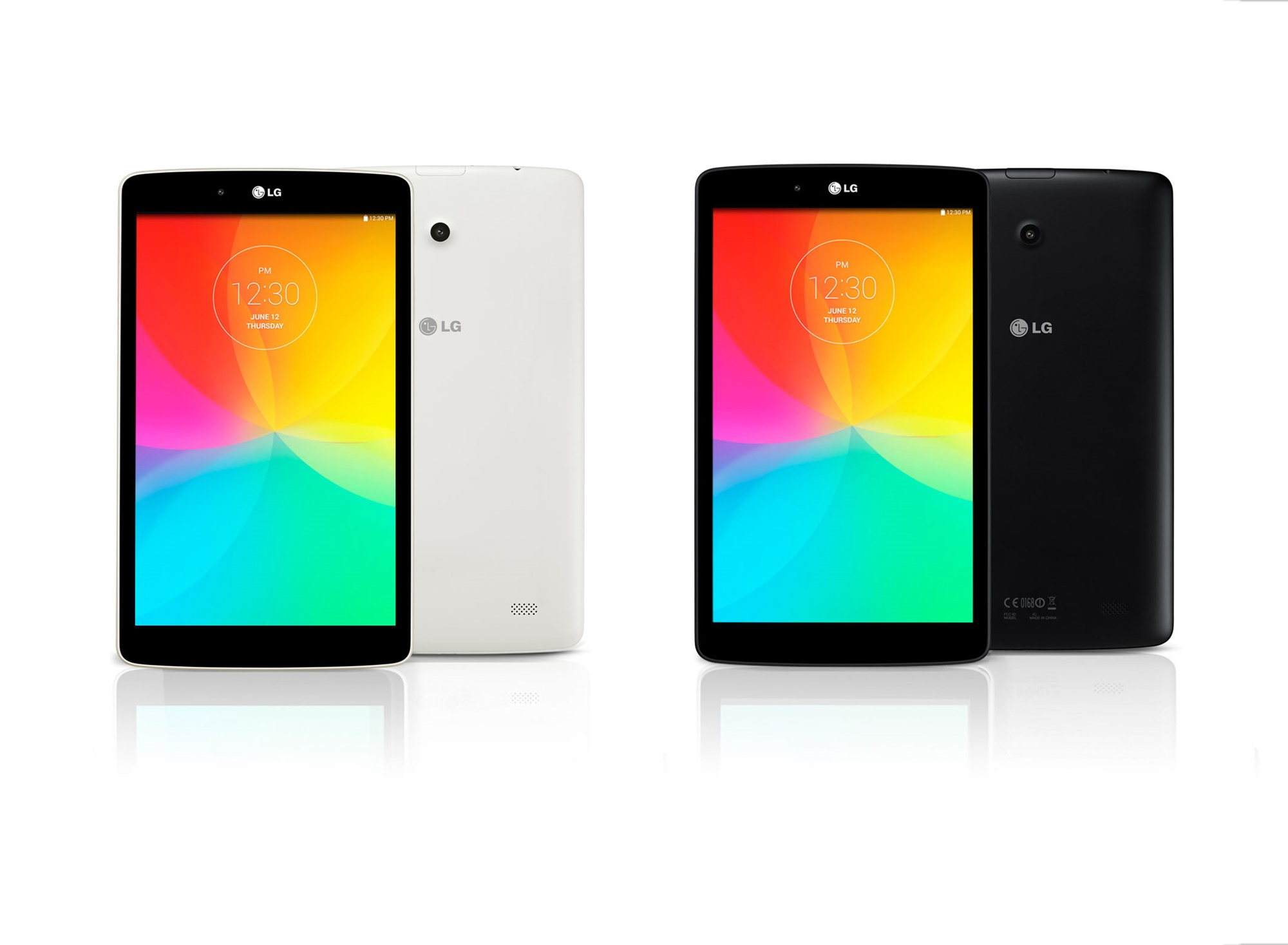 From left to right; A front view and a back view of LG G Pad 8.0 LTE in white color. A front view and a back view of LG G Pad 8.0 LTE in black color.