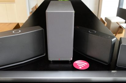 LG Music Flow Speaker models, H3, H5 and H7, with Soundbar model HS6 and Network Bridge model R1