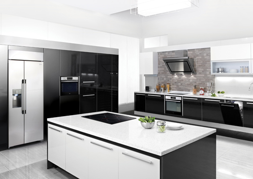 A whole view of kitchen in black and white consisting of LG's premium built-in kitchen appliances including refrigerator, induction cooktop, oven and dishwasher