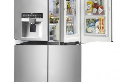 LG Multi-Door refrigerator with water dispenser (GMJ916NSHV.) The Upper-right door is open to show off its Door-in-Door feature and the various foods, bottles of sauces and snacks it can store.