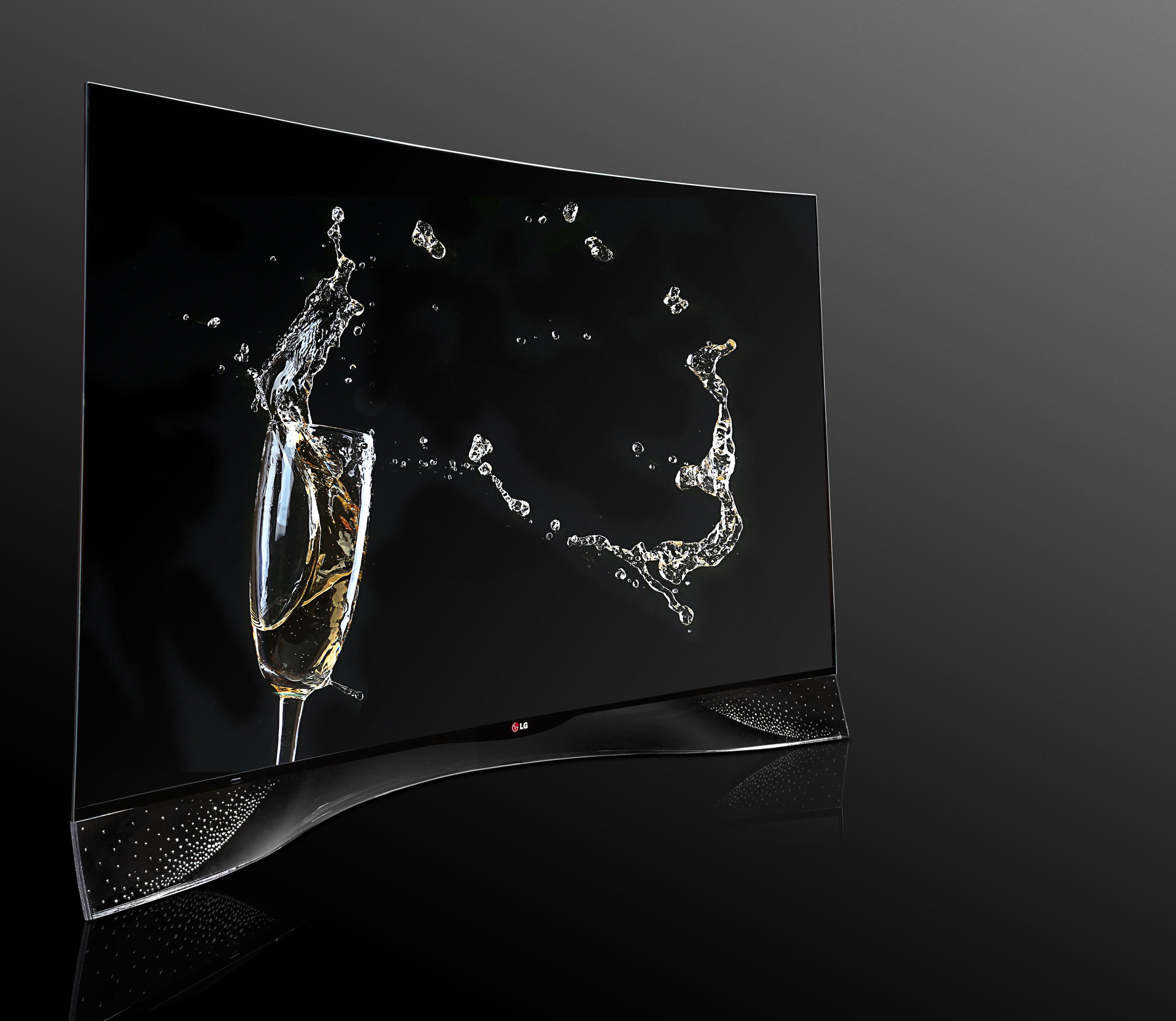 A left-side view of LG CURVED OLED TV displaying its pixel dimming technology featuring Swarovski Crystal Stand