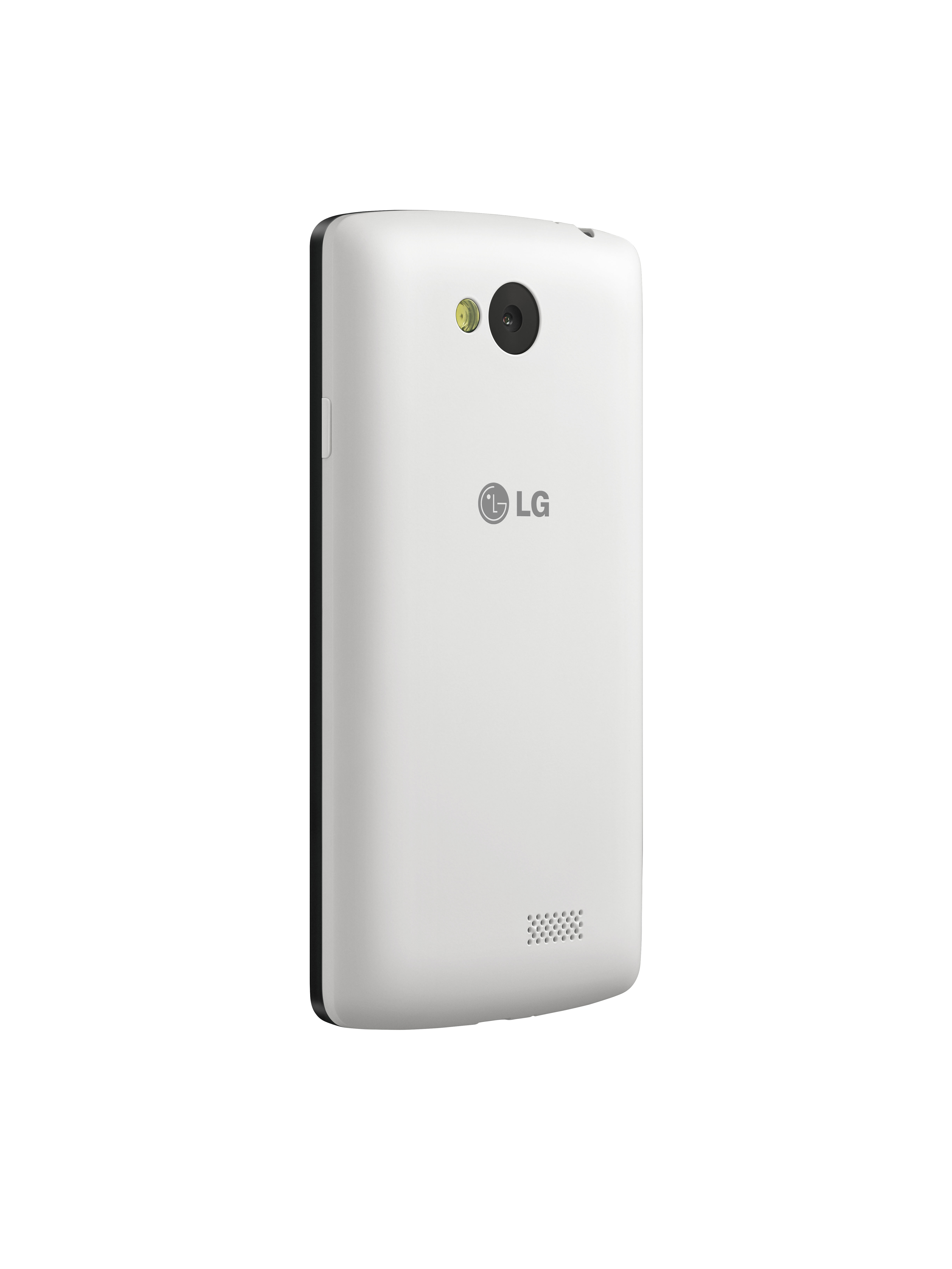A back view of LG F60 in white color.