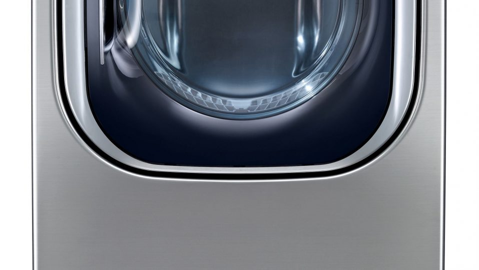 A front view of LG's ENERGYSTAR® certified EcoHybrid™ dryer.