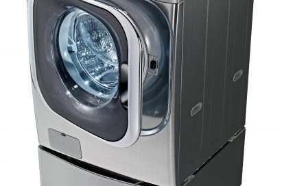 The LG front-load washing machine (WM8000) with its door slightly open