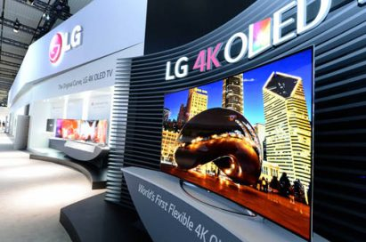 A side view of LG's 77-inch flexible 4K OLED TV.