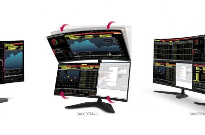 The three stages of LG Curved UltraWide Multi-Display model 34UC87M's set-up options