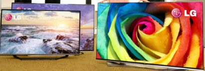 Two side-by-side LG 4K ULTRA HD TVs in the front of another LG TV