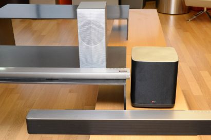 LG Music Flow Wi-Fi Series including LG Soundbar model HS7 and LG Soundbar model HS9