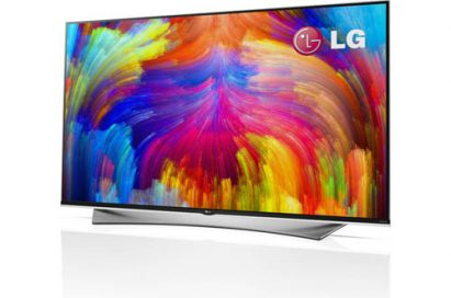 A right-side view of LG 4K ULTRA HD TV with quantum dot technology