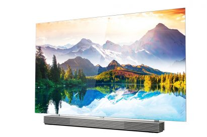 A right-side view of LG 4K OLED TV model EF9800