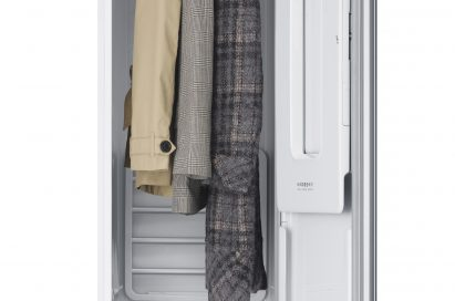 LG Styler with 3 clothes hanged in it